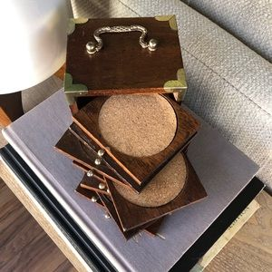 """Vintage 70s Wood Coaster Set with Gold Corners""""w x"""